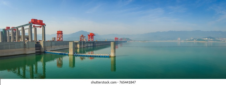 Panorama of the Three Gorges Dam at the yangtze river, China