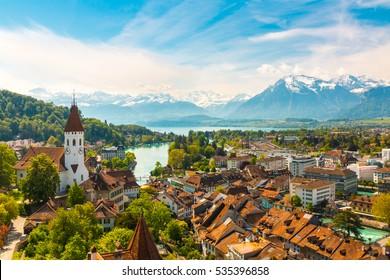 Panorama of Thun city with Alps and Thunersee lake, Switzerland.
