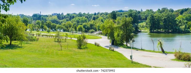 Panorama in Tineretului Park, near downtown Bucharest, Romania
