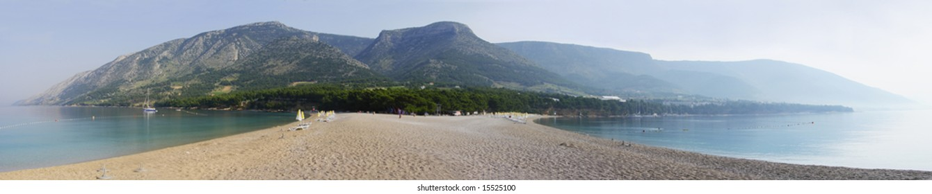 Panorama from the tip of the Golden horn beach in the city of Bol on island of Brac on Adriatic coast in Croatia. This beach is one of the most famous beaches special because of its tongue like shape.