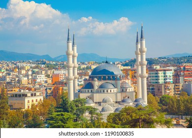Panorama of Tirana City and largest mosque in Albania
