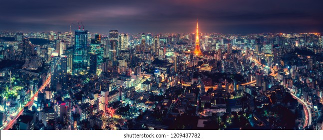 Panorama Tokyo city skyline with Tokyo Tower at dusk in Japan, Colorful color