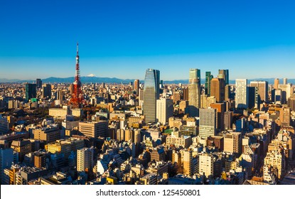 Panorama of Tokyo with the Tokyo Tower and Mt. Fuji, Japan