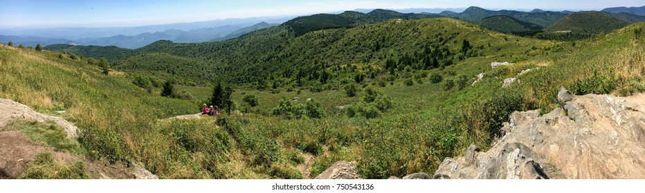 Panorama from top of Black Balsam - Appalachian Bald on Blue Ridge Parkway, North Carolina