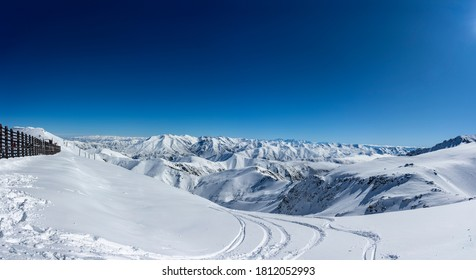 Panorama from top of Mt Hutt Ski Field, looking over Southern Alps