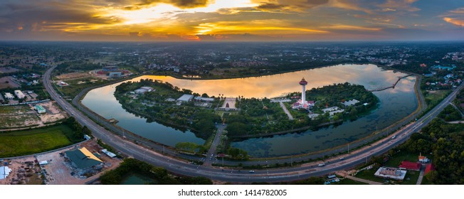 Panorama Top view Aerial photo from flying drone over Chalermprakiat Tower at Koh Klang nam public park in Sisaket Thailand,ASIA.
