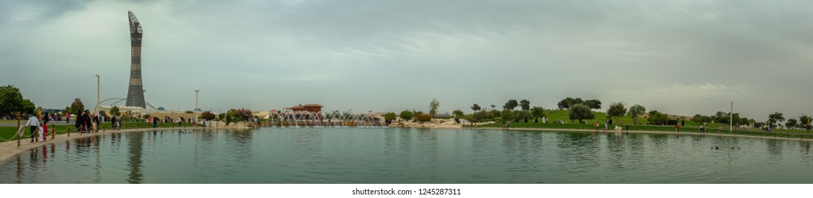panorama for Torch Tower and Aspire Zone Park, Doha, Qatar