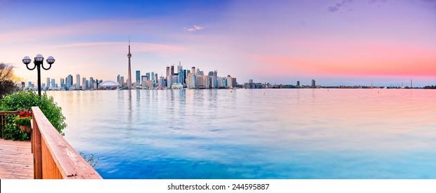 Panorama of Toronto City reflected on the lake.