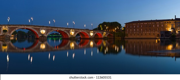 Panorama of Toulouse city center: New Bridge (Pont Neuf) and City Hotel (Hotel de VIlle)
