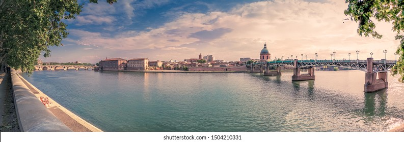 Panorama of Toulouse - France - Over the Garonne River at Spring