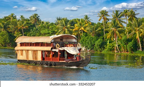 Panorama of tourist houseboat on Kerala backwaters. Kerala, India