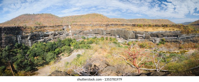 Panorama of touristic attraction Ajanta buddhist temples and caves in Deccan Plateau, Maharashtra state, India