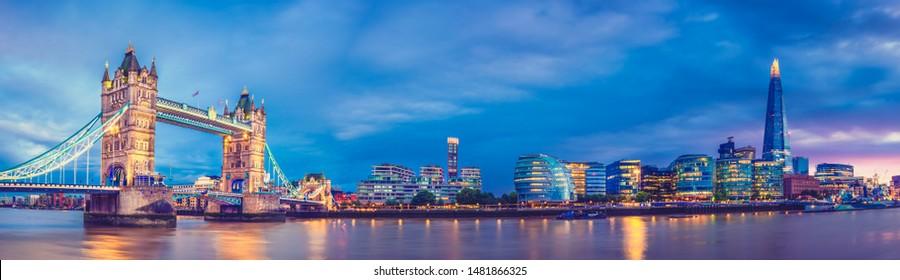 Panorama of Tower Bridge at blue hour in London, UK