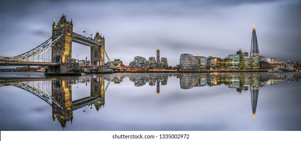 Panorama of Tower Bridge in London at cloudy day