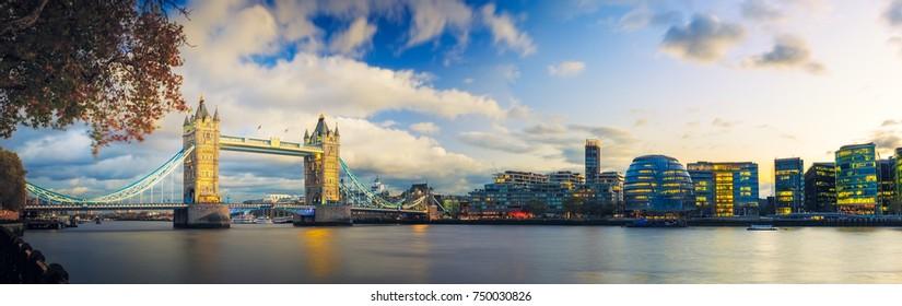 Panorama of Tower Bridge in London, Uk.