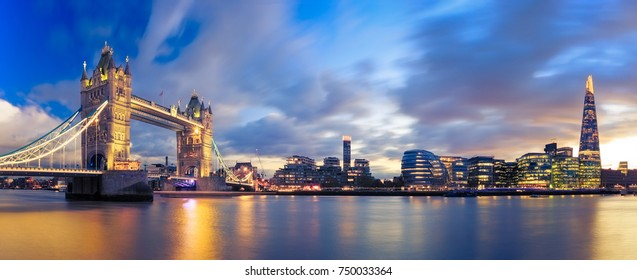 Panorama of Tower Bridge at Sunset in London, Uk. - Shutterstock ID 750033364