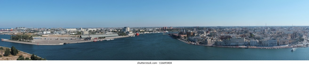 Panorama of the town of Brindisi, with view of the port. This photo is made attaching together various photos