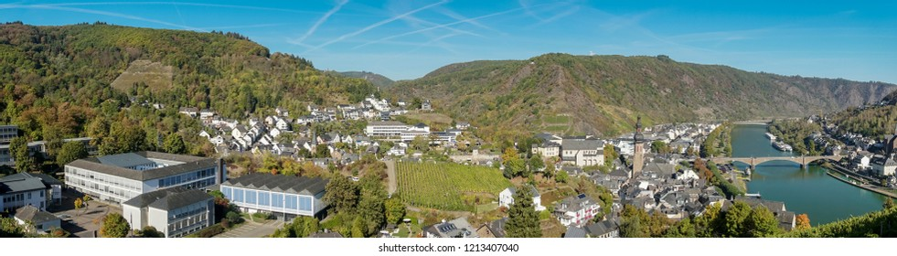 Panorama of the town of Cochem and Moselle river taken from the castle, Cochem, Germany