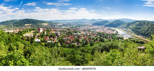 Panorama of the town Decin on the bank of the Elbe, Czech Republic