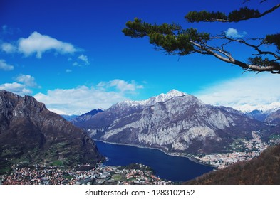 Panorama of town Lecco next to Lake Como. View from the top of Mount Barro, Lombardy, Italy.