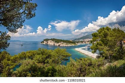 Panorama of the town of Makarska and Sveti petar peninsula, Croatia.