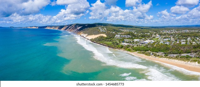Panorama of the town of Rainbow Beach on a sunny day in QLD, Australia