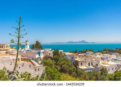 Panorama of the town of Sidi Bou Said. Tunisia, North Africa.