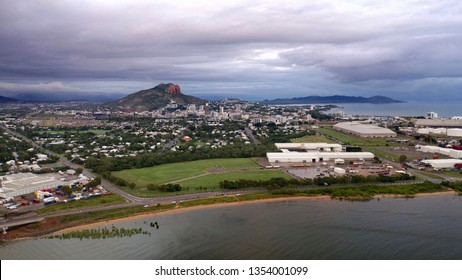 Panorama of Townsville, North Queensland, Australia, with South Townsville in the foreground, on a cloudy morning
