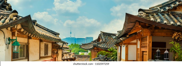 Panorama Traditional Korean style architecture at Bukchon Hanok Village in South Korea.