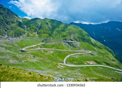 Panorama of Transfagarasan pass - DN7C in summer. Crossing Carpathian mountains in Romania, Transfagarasan is one of the most spectacular mountain roads in the world.