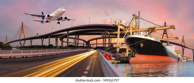 Panorama transport and logistic concept by boat and plane for logistic Import export background