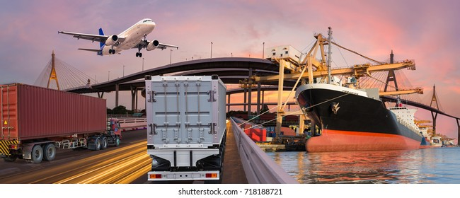 Panorama transport and logistic concept by truck boat plane for logistic Import export background