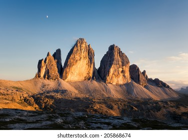 Panorama of Tre Cime at sunny sunset, Italian Dolomites