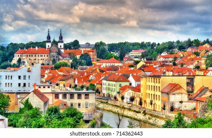 Panorama of Trebic, a UNESCO world heritage site in Moravia, Czech Republic