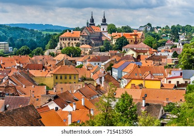 Panorama of Trebic, a UNESCO world heritage site in Moravia, Czech Republic