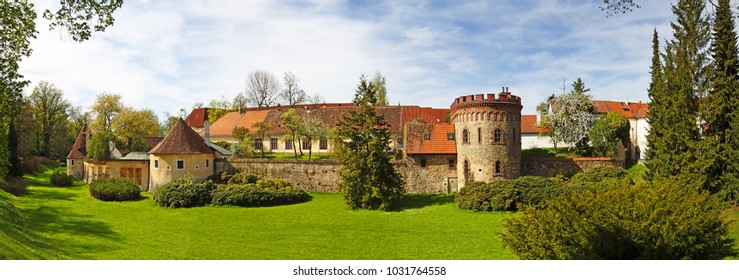 Panorama of Trebon, Remains of old town fortification, Trebon is a old historical town in South Bohemian Region, Czech republic
