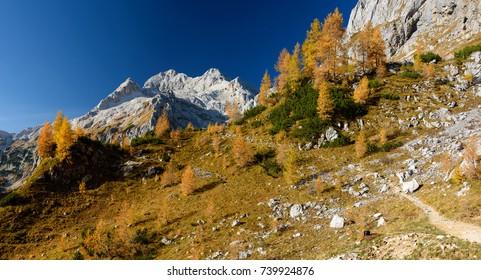 Panorama of the Triglav mountain, the highest peak of the Julian Alps. Slovenia