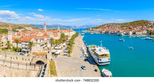 Panorama of Trogir town from castle walls, Dalmatia, Croatia