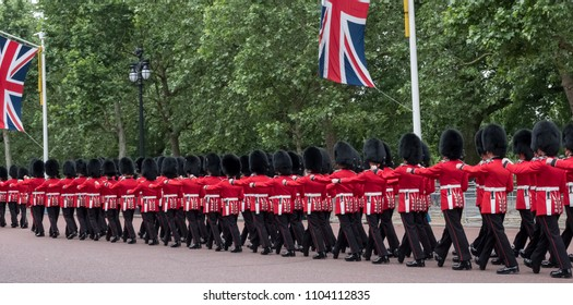 Panorama of the Trooping the Colour ceremony, The Mall, London UK. Annual military ceremony to mark the Queen's birthday.