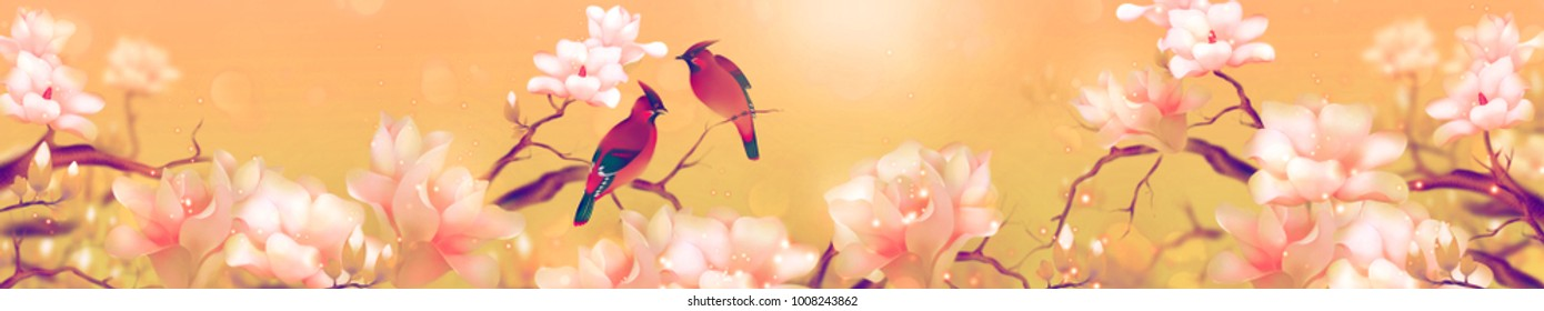Panorama tropical art.  Paradise two birds and flowers on vanilla background. Wild nature. High quality illustration.