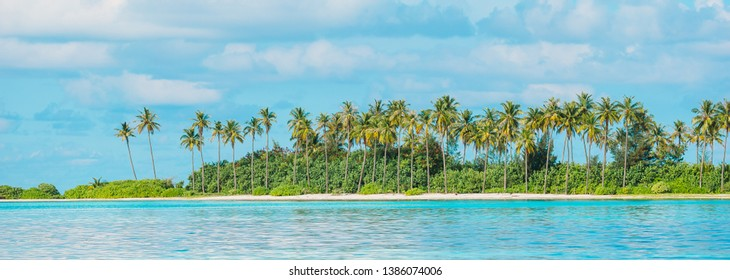 Panorama of tropical beach with turquoise water and big palmtrees at ideal island