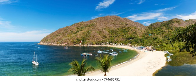 Panorama of the tropical coastal town of Yelapa near Puerto Vallarta, Mexico