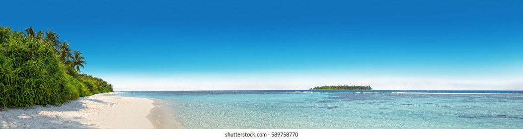 Panorama of tropical island with coconut palm trees, sandy beach and azure lagoon. Maldives, Indian ocean