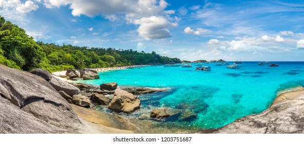Panorama of Tropical landscape on Similan islands, Thailand in a summer day