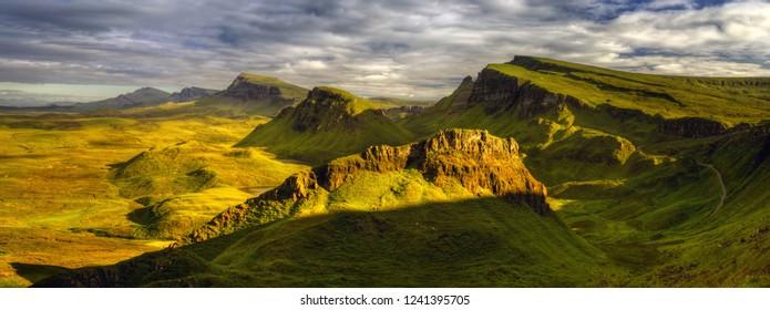 Panorama of Trotternish Ridge in sunset light, Isle of Skye, Scotland