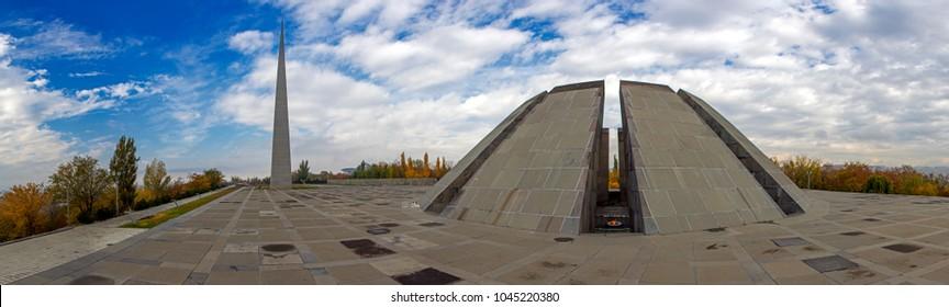 Panorama of Tsitsernakaberd memorial monument of the Armenian Genocide under dramatic sky, Yerevan, Armenia. On 24th of April, 1915, 1.5 million civilian Armenians were killed by Ottoman Empire