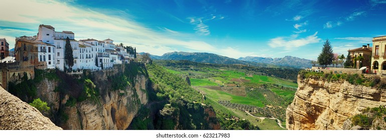 panorama of two side historical village of Ronda, Spain