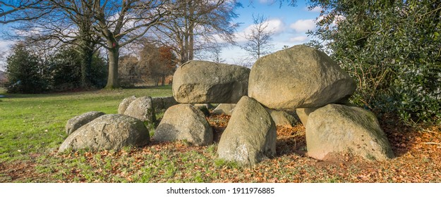 Panorama of a typical dutch prehistoric burial ground formed by large boulders called Hunebed in Norg, Netherlands