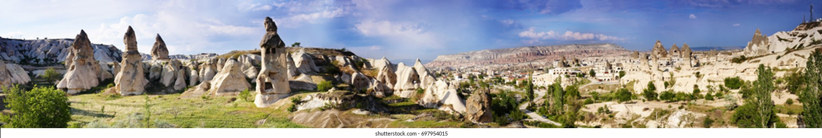Panorama of the Uchisar valley and the city of Goreme. Cave towns. Cappadocia, Turkey.