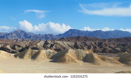 Panorama of the Unique Colorful Formations Found in Death Valley National Park